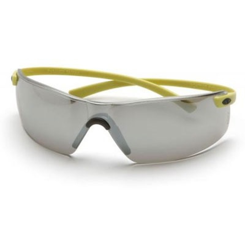 Pyramex Montego Safety Glass - Silver Mirror Lens with Hi-Vis Temples