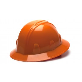 Pyramex Hard Hats Orange-Full Brim 6 Pt Ratchet Suspension