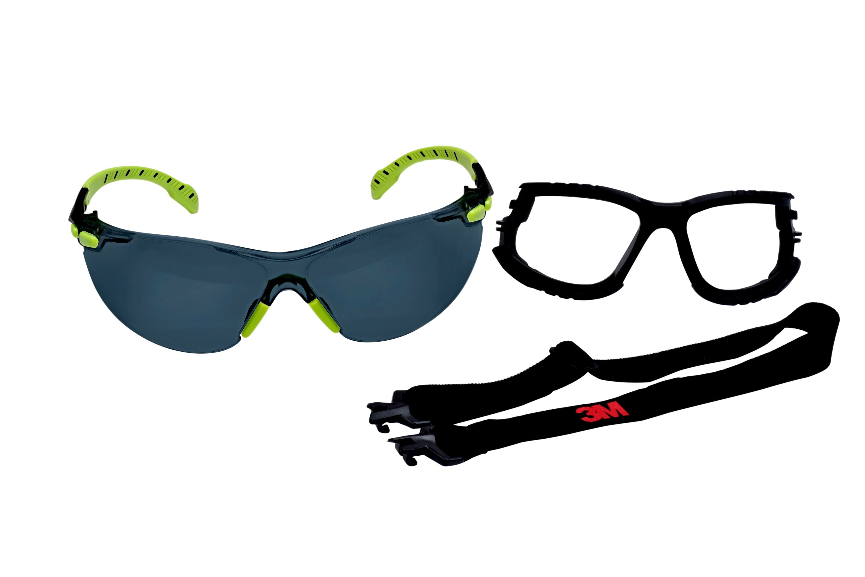 3M™ Solus, 1000-Series, S1202SGAF-KT, Foam, Strap, Green Black, Grey  Scotchgard™ Anti-fog lens, 20ea cs 74d0ae97c691