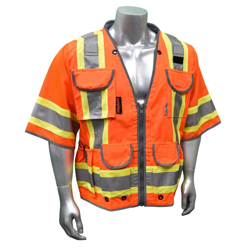 Radians SV55-3 Safety Vest - Class 3 - Two Tone Surveyor - Heavy Duty Solid Front Mesh Back Large Orange (1 EA)