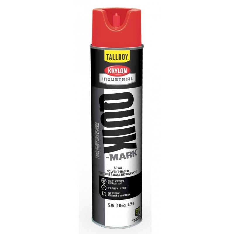 Krylon Quick-Mark™ Tallboy™ RED Solvent-Based Inverted Marking Paints | T03611007 12/Case