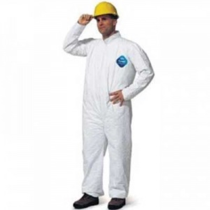 DuPont™ Tyvek TY120S White Coveralls - Open Wrists and Ankles Serged Seams (Case of 25)