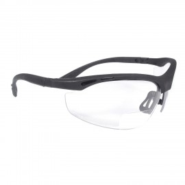Radians Cheaters - Clear 3.0 bi-focal Safety Glasses Half Frame Style Black Color - 12 Pairs / Box