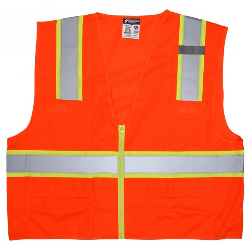 MCR River City Luminator SURVO  Class 2 Surveyor Style Safety Vest Orange (1 Each)