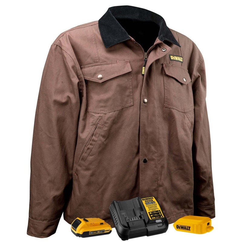 DeWALT Heated Barn Coat DCHJ083TD1 Unisex, Tobacco Brown