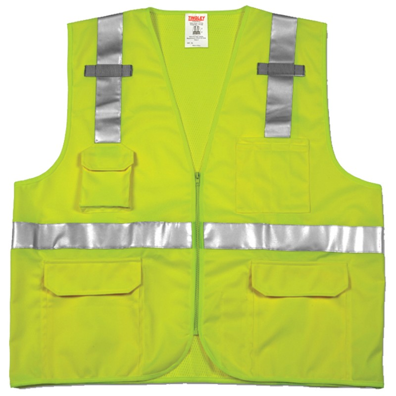 Tingley V73832.S-M Class 2 Surveyor Style Vest Fluorescent Yellow-Green Polyester Solid Front, Mesh Back Zipper