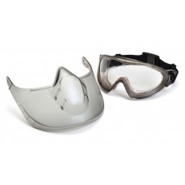 Pyramex  Capstone  Direct/Indirect Gray Frame/Clear Anti Fog Lens Faceshield Attachment Safety Glasses  1 / EA