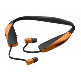 Walker's Hearing GWP-SF-NHE-BT-BLZ Razor XV Neck Hearing Enhancement - Retractable Ear Buds Bluetooth  Blaze Orange