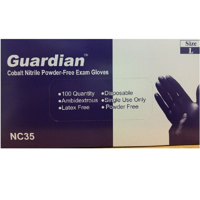 Sprighten Guardian Cobalt Nitrile PF, Medical/Exam Grade, 3.5 Mil Disposable Gloves (Box of 100)