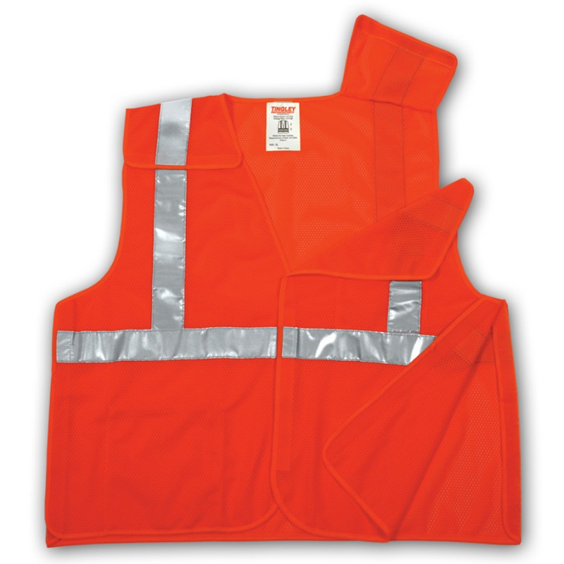 Tingley V70529.L-XL Class 2 5 Point Breakaway Vest Fluorescent Yellow-Green Polyester Mesh Hook & Loop