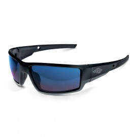 Radians Crossfire Cumulus Blue Mirror, Matte Black Frame Safety Glasses 12 PR/Box