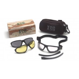 Black Frame/Clear Ballistic, Gray Ballistic And Amber Ballistic Interchangeable Anti-Fog Lenses. Black Ballistic Nylon Case For Storage. Interchangeable Temples Included.