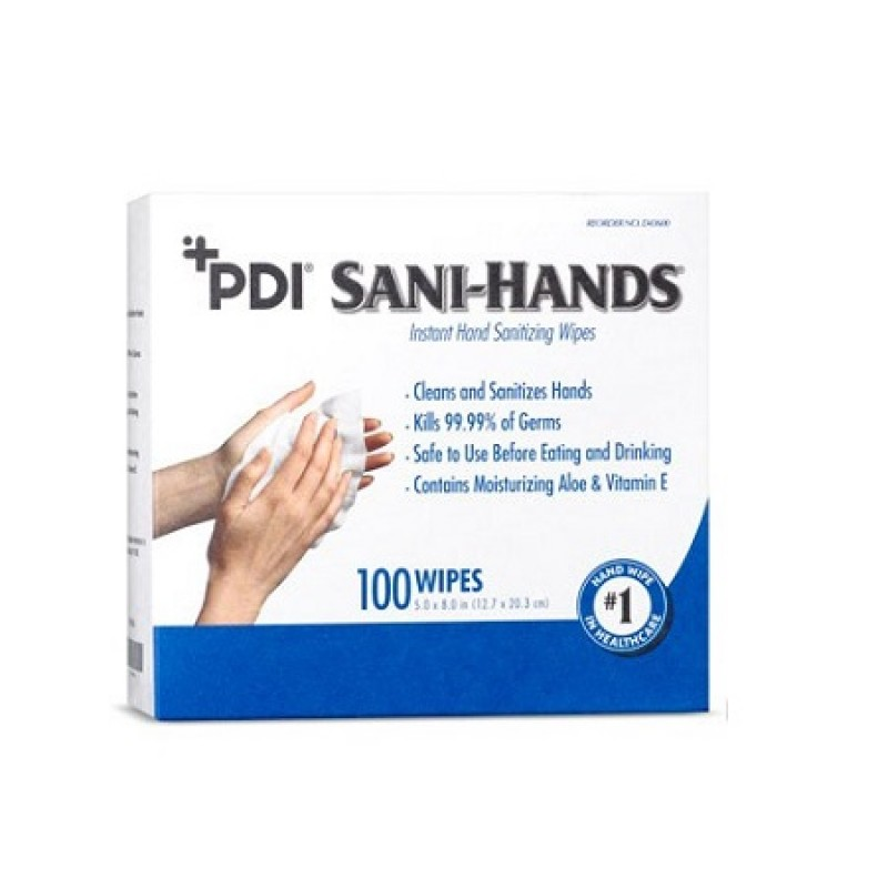 PDI Sani Hands Instant Hand Sanitizing Wipes Box Box of 100 D43600, Enviro Safety Products - GEMS