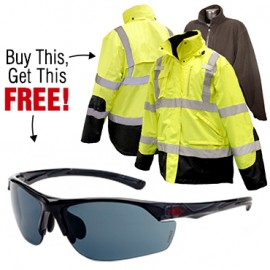 Buy 3-in-1 High Vis Weatherproof Parka, Get a FREE pair of Crossfire AR3 Safety Glasses