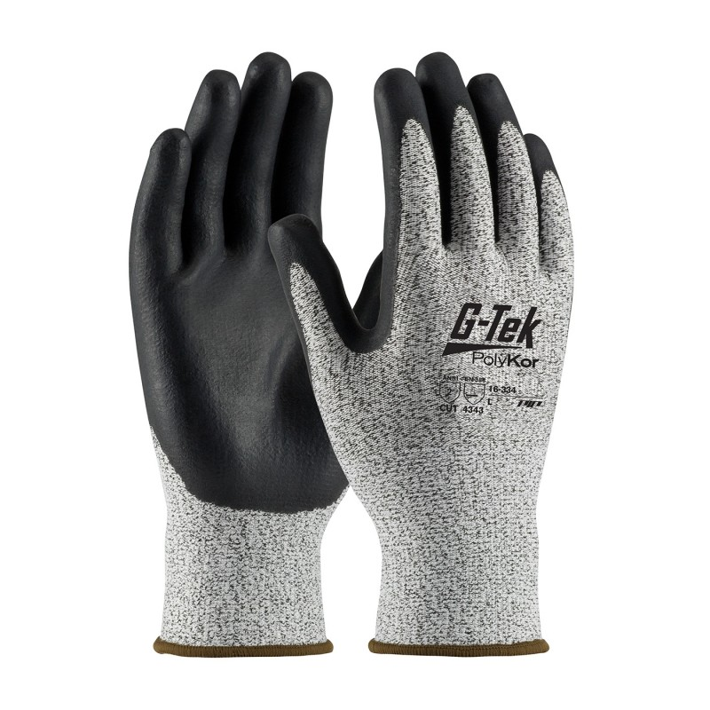 PIP 16-334/S G-Tek Seamless Knit PolyKor Blended Glove with Nitrile Coated Foam Grip on Palm & Fingers Small 6 DZ