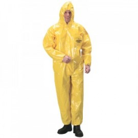 DuPont™ Tychem BR Coveralls with Attached Hood, Elastic Face, Wrists and Ankles - Taped Seams