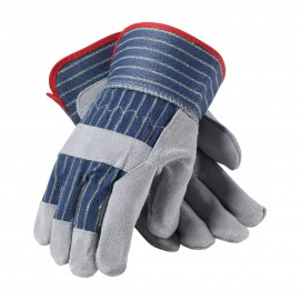 "PIP ""A/B"" GRade Shoulder Split Leather Palm Fabric Back Glove - Rubberized Safety Cuff"