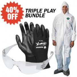 3-in-1 Deal - SafeGard Coverall with Hood Wrist & Boots + AO Safety Virtua Safety Glasses + 12 Pairs of Ninja X Glove with Nitrile Coating
