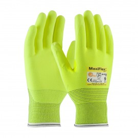 PIP 34-8743FY/S ATG Hi Vis Seamless Knit Engineered Yarn Glove with Premium Nitrile Coated MicroFoam Grip on Palm & Fingers Small 6 DZ