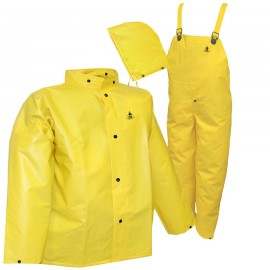 Tingley S56307.5X DuraScrim Suit Yellow 3 Piece Suit Jacket Storm Fly Front Detachable Hood Snap Fly Front Overall