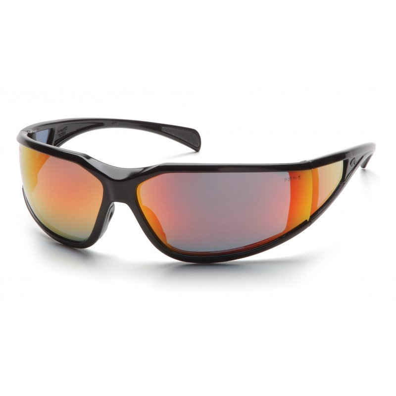 Pyramex Safety - Exeter - Glossy Black Frame/Sky Red Mirror Anti-Fog Lens Polycarbonate Safety Glasses - 12 / BX