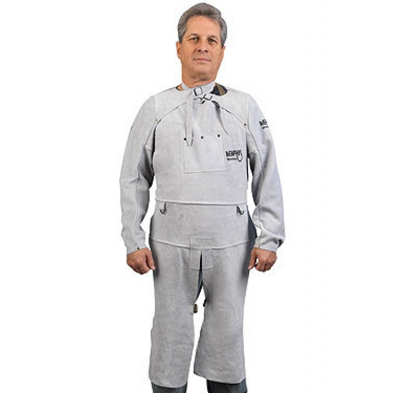 MCR Safety 38425MW Memphis Split Cow Leather Welding Sleeve with Adjustable Neck Strap | Welding Equipment | Enviro Safety Products, envirosafetyproducts.com