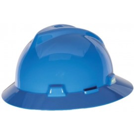 MSA Blue V Gard Polyethylene Slotted Full Brim Hard Hat  Fas Trac Ratchet Suspension (1 EA)