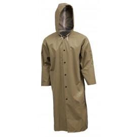 """Tingley C12148.LG Magnaprene Coat Olive Drab 48"""" Storm Fly Front Attached Hood Inner Cuffs"""