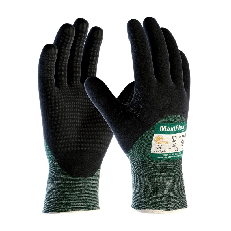 PIP ATG 34 8453 MaxiFlex Cut Gloves  ANSI A2 EN 3  Dotted Palms  3/4 Coat Nitrile Micro Foam  Green (1 DZ)