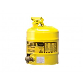 Justrite TYPE I Shelf Safety Can 5 Gallon Bottom 08540 Faucet Steel Yellow
