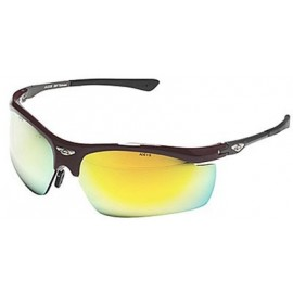 OCC402 Safety Glasses with Burgundy Frame and Gold Mirror Lens