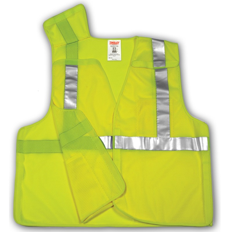 Tingley V70522.L-XL Class 2 5 Point Breakaway Vest Fluorescent Yellow-Green Polyester Mesh Hook & Loop