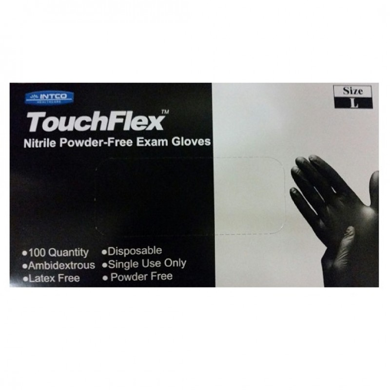 Guardian TouchFlex Black Nitrile PF, Medical/Exam Grade, 4.0 mil Disposable Gloves (Box of 100) Large