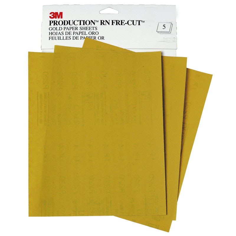 3M™ Gold Abrasive Sheet, 02536, P800 grade, 9 in x 11 in, 50 sheets per sleeve, 5 sleeves per case