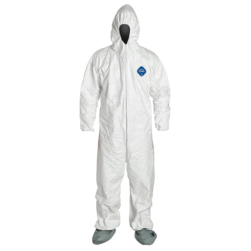 DuPont™ Tyvek TY122S White Coveralls - Attached Hood Boots and Elastic Wrists Serged Seams (Case of 25)