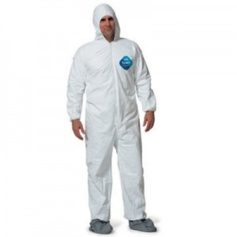 dcf9c708d8c6 DuPont™ Tyvek TY122S White Coveralls - Attached Hood Boots and Elastic  Wrists Serged Seams ...