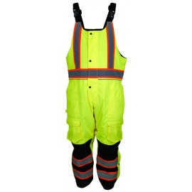 MCR Vortex VT38BP Winter Pants with Bib, Insulated Rip Stop, Class E Hi Viz
