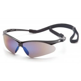Pyramex PMXTREME Black Frame/Blue Mirror Lens With Black Cord (1 Box of 12)