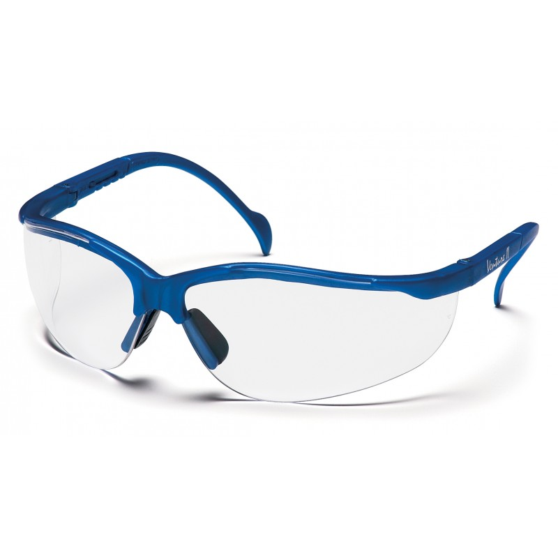 pyramex safety venture ii metallic blue frame clear lens