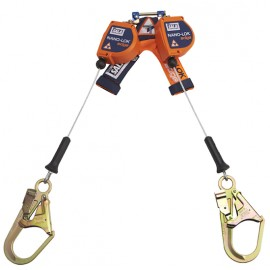 DBI-Sala Nano-Lok edge Twin-Leg Quick Connect Self Retracting Lifeline - 3500246 - Cable - Steel Rebar Hooks - 8 ft.