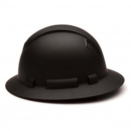 Pyramex Ridgeline HP54117 Full Brim Hard Hat 4-Point Ratchet, Matte Black (1 EA)