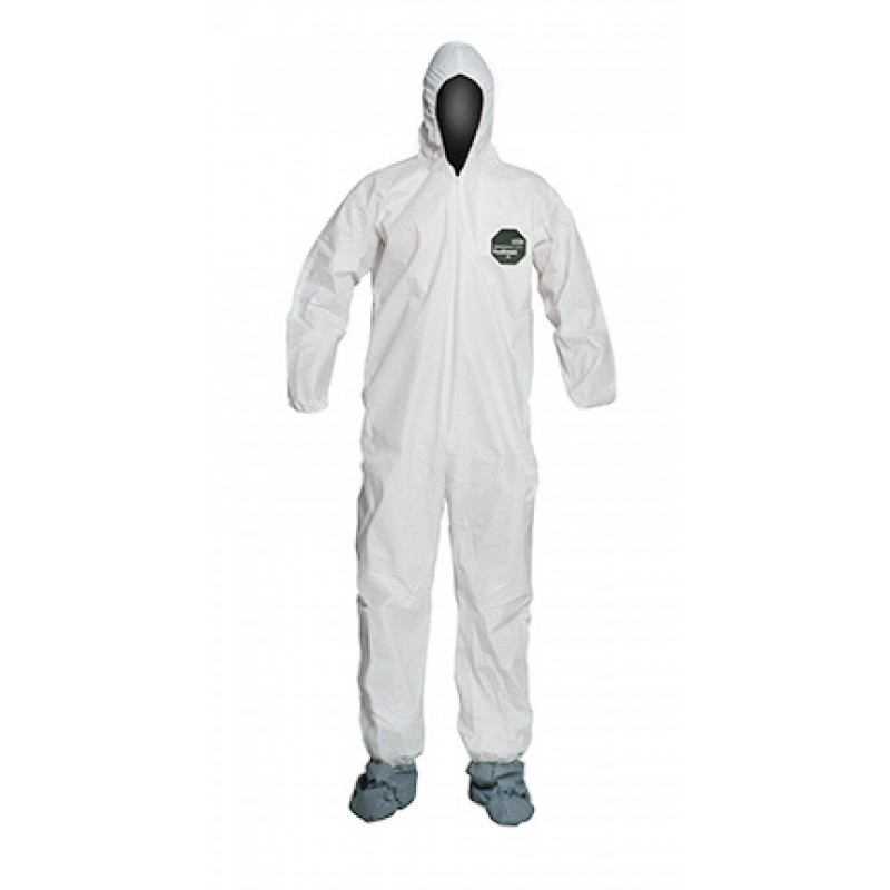 Dupont ProShield 50 NB122S Microporous Coveralls - Attached Hood & Boots, Elastic Wrists, Serged Seams (Case of 25)