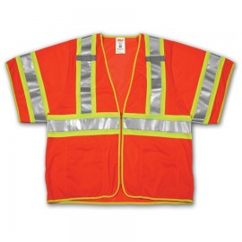 Tingley V70339.4X-5X Class 3 Vest Fluorescent Orange-Red Polyester Mesh Zipper Closure
