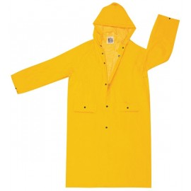 "MCR 200CH Classic .35mm PVC/Polyester 49"" Coat  Attached Hood Snap Front Yellow"