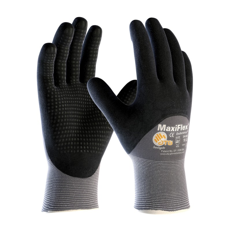 PIP ATG 34-845 MaxiFlex Endurance Gloves - Dotted Palms - 3/4 Coat Nitrile Micro-Foam - Gray Color (1 PR)