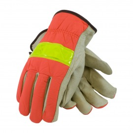 PIP® 125-368  Top Grain Pigskin Leather Palm Drivers Glove Hi-Vis Nylon Back - Open Cuff  10/DZ
