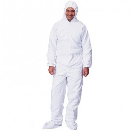Lakeland Pyrolon Plus 2,  Disposable Coveralls with Attached Hood, Boots and Elastic Wrists 25/Case