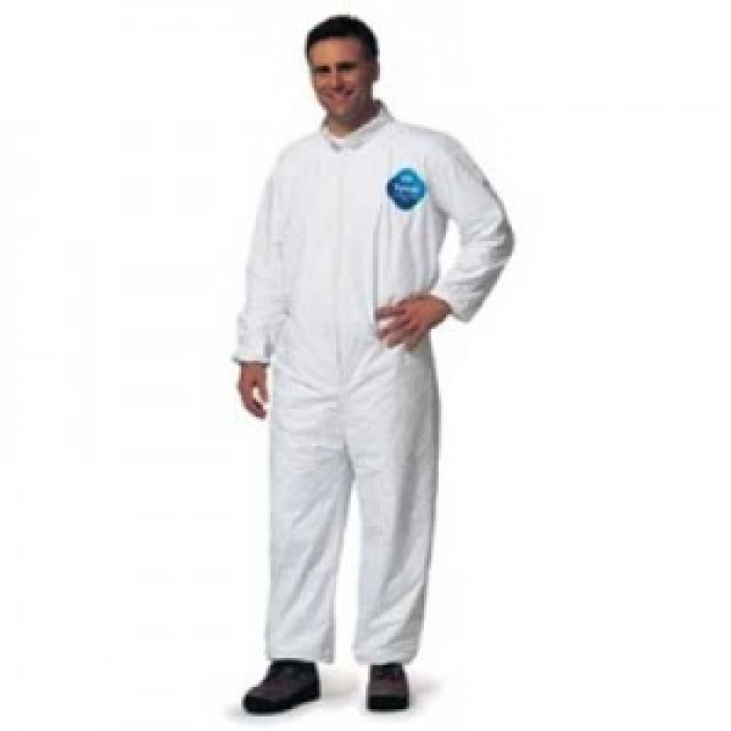 DuPont™ Tyvek TY125S White Coveralls - Elastic Wrists and Ankles Serged Seams (Case of 25)