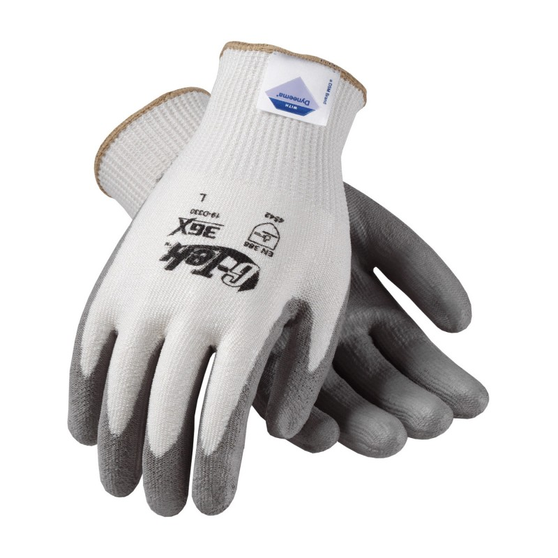 G-Tek 3GX Seamless Knit Dyneema Diamond / Spandex Glove with Polyurethane Coated Smooth Grip on Palm & Fingers