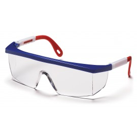 Pyramex  Integra  Red/White/Blue Frame/Clear Lens  Safety Glasses  12/BX